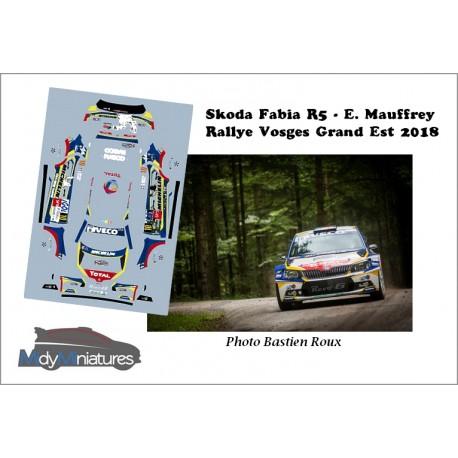 Décal Skoda Fabia R5 - E. Mauffrey - Rallye Vosges Grand Est 2018