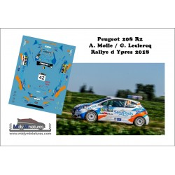 Décal Peugeot 208 R2 - A. Molle - Rallye d'Ypres 2019